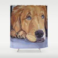 golden retriever Shower Curtains featuring Golden Retriever Eyes by Barking Dog Creations Studio