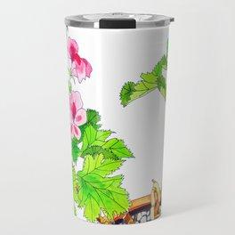 Pink Geraniums Travel Mug