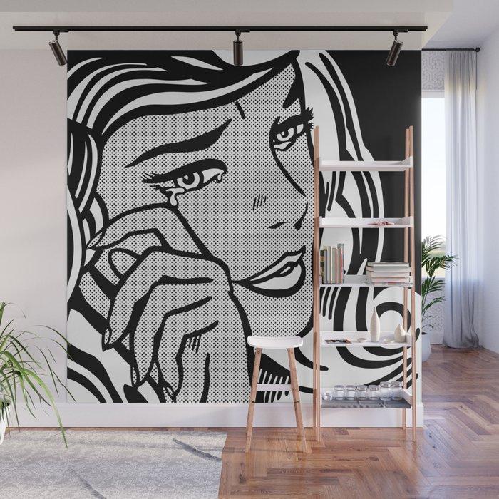 Crying-Girl02 B&W Wall Mural