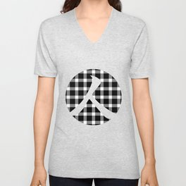 Plaid Dark Black Person Unisex V-Neck