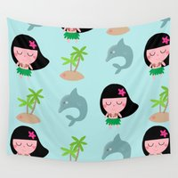 hawaii Wall Tapestries featuring hawaii by Sucoco