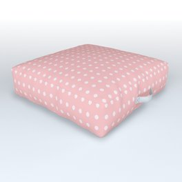 Simple White Polka Dots on Pastel Pink Outdoor Floor Cushion