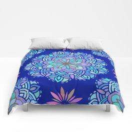 Heart mandala Pattern on Dark Blue Background Comforters