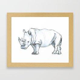 Rhinoceros, watercolor Framed Art Print