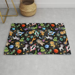 Zoo Animal Astronauts In Space Watercolor Rug