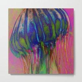 Electric Jellyfish Metal Print