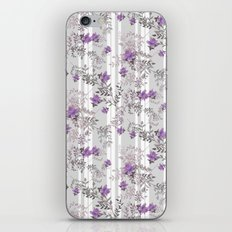 Lilac roses on a gray striped background. iPhone & iPod Skin