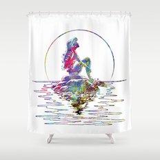 The Little Mermaid Ariel Silhouette Watercolor Shower Curtain