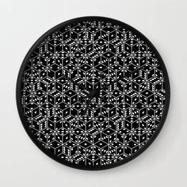 stacked dice black with white pips Wall Clock