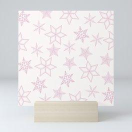 Pink Snowflakes On White Background Mini Art Print