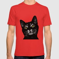Cat Eyes Mens Fitted Tee Red SMALL