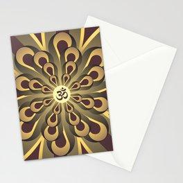 Om Mandala, Purple and Gold Fractal, Spiritual Gift, Yoga Lifestyle Stationery Cards
