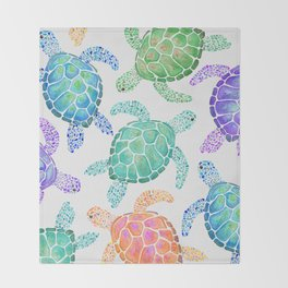 Sea Turtle - Colour Throw Blanket