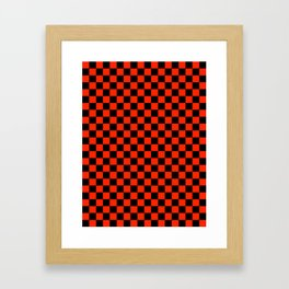 Black and Scarlet Red Checkerboard Framed Art Print