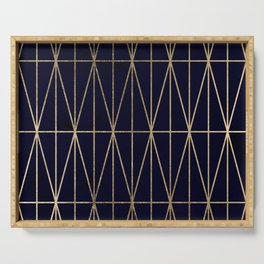 Modern gold geometric triangles pattern navy blue watercolor Serving Tray