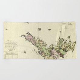Map Of Saint Barts 1801 Beach Towel