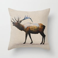 The Rocky Mountain Elk Throw Pillow