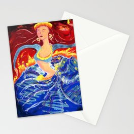Blue Snake Arms Aflame Stationery Cards