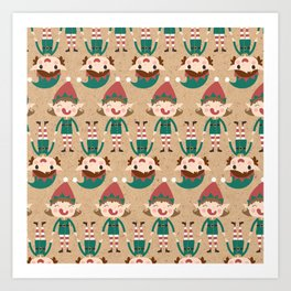 Santa's Elven Slaves I (Patterns Please) Art Print