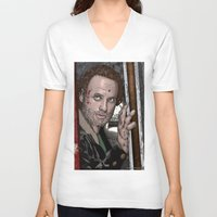 rick grimes V-neck T-shirts featuring Rick Grimes  Walking Dead by Kenneth Shinabery