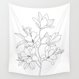 Minimal Line Art Magnolia Flowers Wall Tapestry