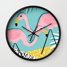 Bro - wacka design memphis throwback minimal retro hipster 1980s 80s neon pop art flamingo lawn Wall Clock