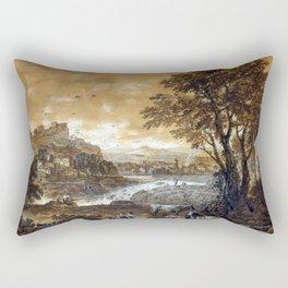 Francesco Zuccarelli A Landscape with Shepherds Resting Under a Tree by a Cascade Rectangular Pillow