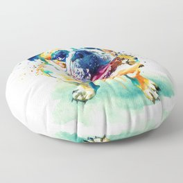 Watercolor Bulldog Floor Pillow