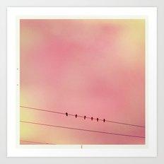 Pink Sky and 6 Birds Art Print