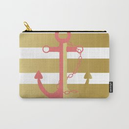 AFE Nautical Pink and Gold Anchor Carry-All Pouch