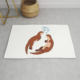 Swimming Sea Otter Bubble Rug