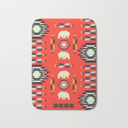 Tribal decor with bears in red Bath Mat