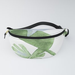 Tropical Leaves Green And Blue Fanny Pack
