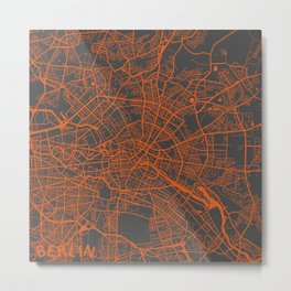 Berlin map orange Metal Print