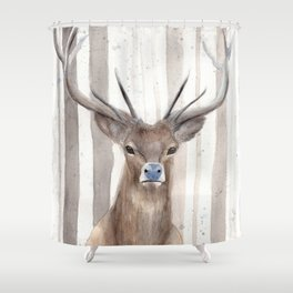 """Watercolor Painting of Picture """"Deer in Winter Forest"""" Shower Curtain"""