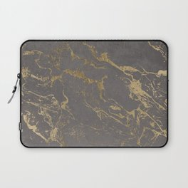 Modern Grey cement concrete gold marble pattern Laptop Sleeve