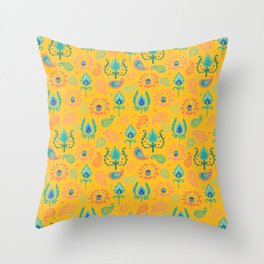 Yellow Ikat Doodle Pattern Throw Pillow