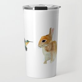 Bunny and Hummingbird Travel Mug