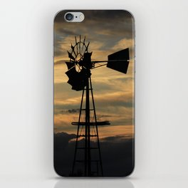 Kansas Sunset with a Windmill Silhouette with Clouds iPhone Skin
