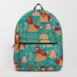 Dancing foxes in a fairy forest. Folk Art. Seamless pattern. Green background. Backpack