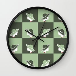 Hat lady in Dark and Mint green Wall Clock