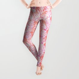 FLESHED OUT Tropical Pink Pineapples Leggings