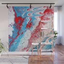 Marble Red Blue Paint Splatter Abstract Painting by Jodilynpaintings Red Wall Mural