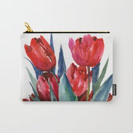 Red Tulips Floral Red,Turquoise Blue Artwork, garden tulips tulip lover design Carry-All Pouch