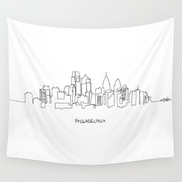 Philadelphia Skyline Drawing Wall Tapestry