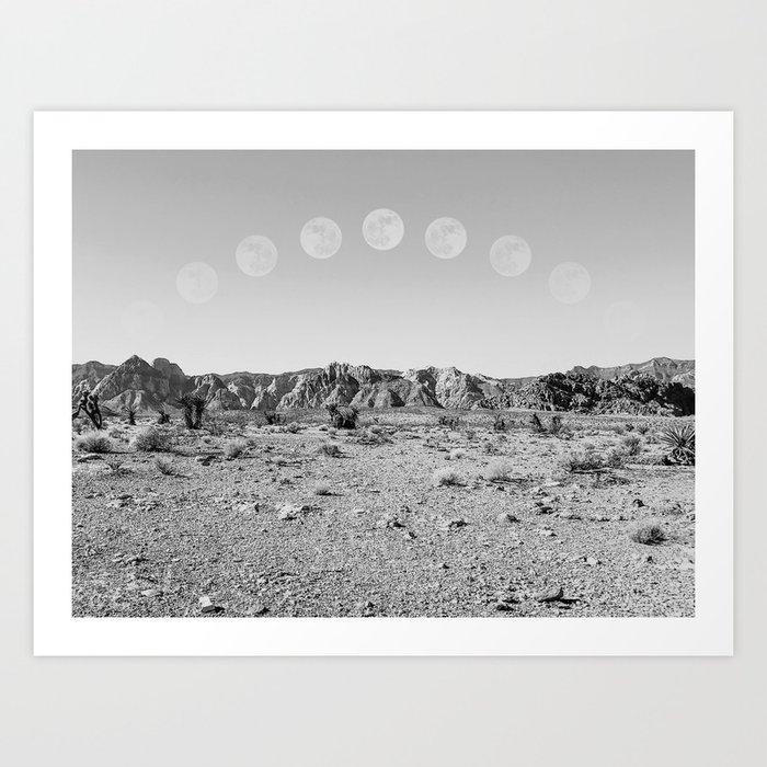 Desert Moon Ridge B&W // Summer Lunar Landscape Teal Sky Red Rock Canyon Rock Climbing Photography Kunstdrucke