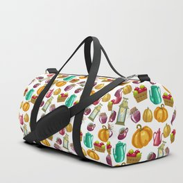 Autumn  Pattern with Food and Drink and Lamp Duffle Bag