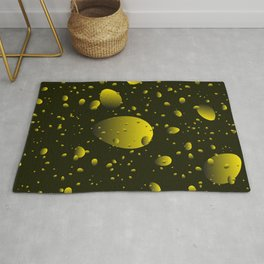 Large yellow drops and petals on a dark background in nacre. Rug