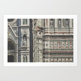Close up at Piazza del Duomo of the Giotto's Campanile & Duomo, Florence, Italy Art Print