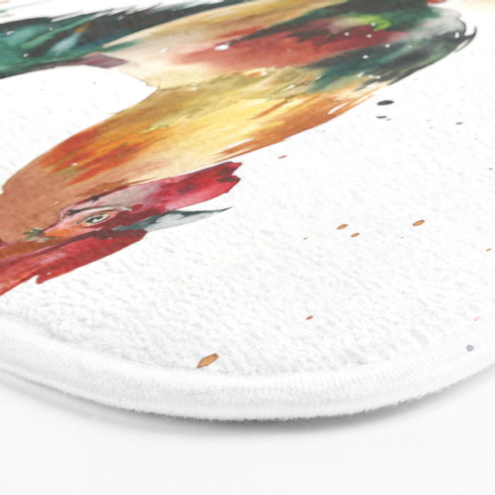 Symbol of the year, watercolor rooster, cock, cockerel Bath Mat